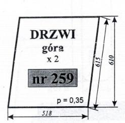 SZYBA DRZWI GÓRA C-330