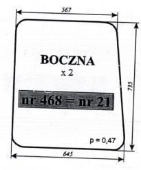 Szyba boczna Kunów C-360 NR.21
