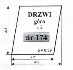 Szyba drzwi (góra) do ciągników C-360 KOŹMIN i MF-255 KOŹMIN (Szyszka, Stawowy, Moraś, Naglak, Skowroński)