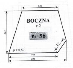 Szyba boczna do ciągnika C-360 - kabina czeska