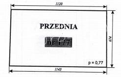 Szyba przednia do ciągników C-360 KOŹMIN i MF-255 KOŹMIN (Szyszka, Stawowy, Moraś, Naglak, Skowroński)