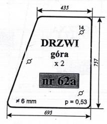 Szyba drzwi góra Zetor 7211 60117961