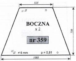 Szyba boczna Zetor 7211