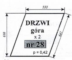 Szyba drzwi (góra) do ciągnika Ursus 1604 (1201) Typ 1204 Kunów, C-385 stary typ