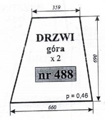 Szyba drzwi (góra) ciągnika Ursus 35-12 3512 Kunów