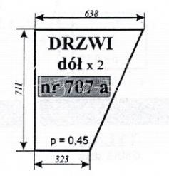 Szyba drzwi (dół) co ciągników Ursus 35 12, 34 14 (prod. Koja-Smolniki)