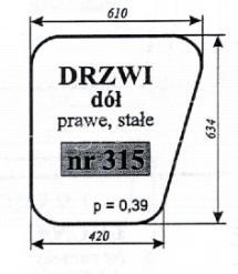 Szyba drzwi dół pr.stałe MF-235
