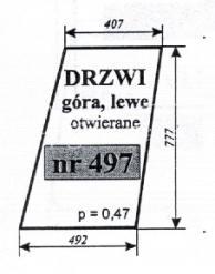 Szyba drzwi (góra) lewych, otwieranych do ciągnika T 25 A2 Sokółka
