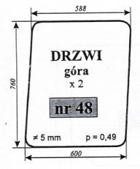 Szyba drzwi  (góra) Białoruś MTZ-82 Producent No Drawionos 80-6700 Type 3