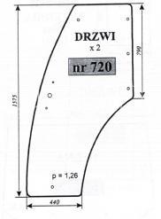 Szyba drzwi ciągnika Pronar 320 A