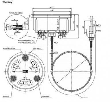 wskaźnik pomiaru ciśnienia i temperatury