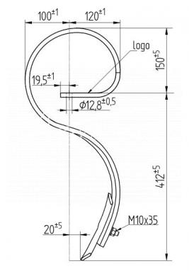 Ząb agregatu Famarol 562mm Bagra 32x10 sprężynowy z redliczką 1767/10-400/1