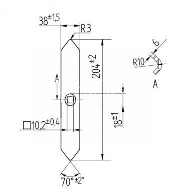 Redliczka jednootworowa 204mm 40x6 agregatu Bagra prosta 1417/00-019/P