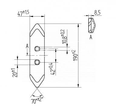 Redliczka dwuotworowa 190mm 45x8 kultywatora 1410/01-006/0