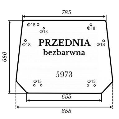 Szyba przednia bezbarwna Kubota BX231