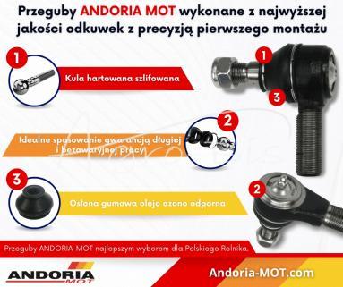 Przegub kątowy drążka Case, New Holland Fiat M22x1.5 ANDORIA MOT