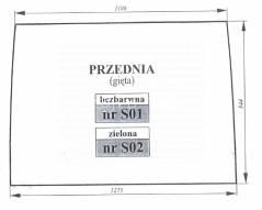 Szyba przednia Zetor Proxima Forterra zielona gięta 53369038