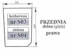 Szyba przednia dolna Zetor Proxima prawa zielona gięta 53369195