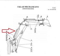 cylinder wysięgu do koparkoładowarki Ostrówek K162
