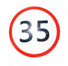 Naklejka ograniczenie prędkości 35 KM/H