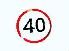 Naklejka ograniczenie prędkości 40 KM/H