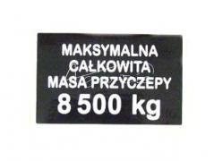 NAKLEJKA MAKSYMALNA MASA 8500KG