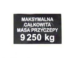 Naklejka maksymalna masa 9250kg