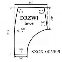 Szyba drzwi lewe Kubota L4100 zielona 816*1522