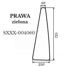 Szyba prawa Kubota L4100 zielona 250*725 mm