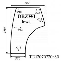 Szyba drzwi lewych Kubota L5040 zielona rozstaw otworów 80mm 884*1426