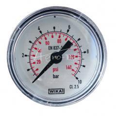 Manometr  010 bara, średnica 40mm, przyłącze G 1/8 tylne centryczne, skala 2 psi, pneumatyczny