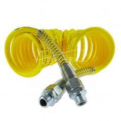 Przewód łączeniowy spiralny żółte osłony poliamid gwint zewnętrzny 16x1.5 dł 6m ARCHIMEDES